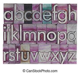 alfabeto, tipo, metal, letterpress