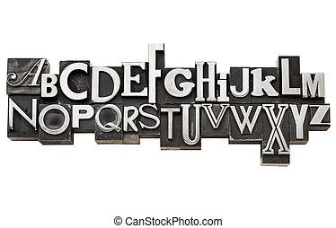 alfabeto, tipo, metal, vindima