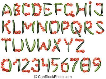 alfabeto, tomates, pepinos