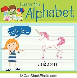 alfabeto, u, flashcard, unicórnio