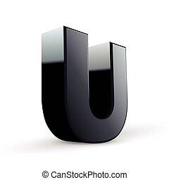 alfabeto, u, lustroso, pretas