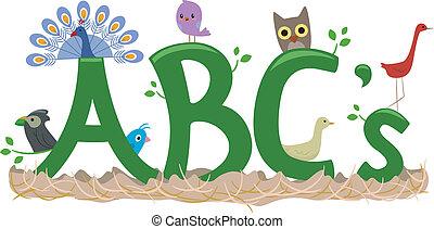 alfabeto, uccello