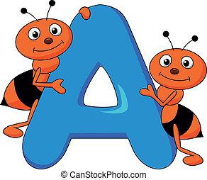 alfabeto, un, con, hormiga, caricatura