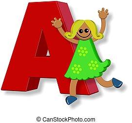alfabeto, un, niña