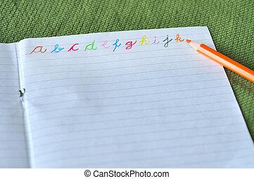alfabeto, vario, colori, lettere
