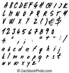 alfabeto, vector, mano, dibujado