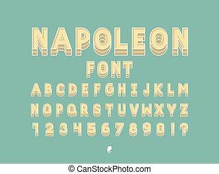 alfabeto, vector, napoleon, font.