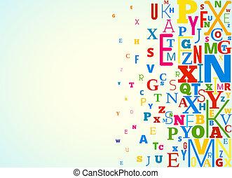 alfabeto, vetorial, fundo