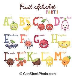 alfabeto, vetorial, illustration., fruta