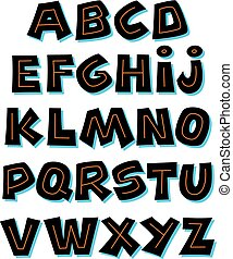 alfabeto, vetorial, retro, font.