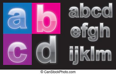 alfabeto, vetro, lettere