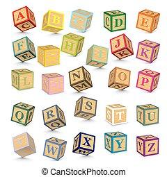 alfabeto, vettore, blocchi