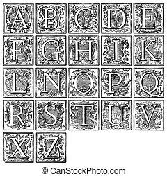 alfabeto, viejo, decorativo