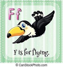 alfabeto, voando, flashcard, f