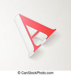 alfabeto, wireframe, personagem, um, vetorial, collection:, 3d