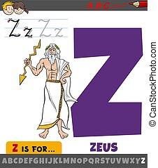 alfabeto, z, carta, mitológico, zeus, dios griego