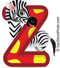 alfabeto, z, con, zebra, caricatura