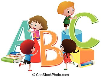 alfabetos, blocos, crianças, inglês