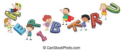 alfabetos, crianças, tocando
