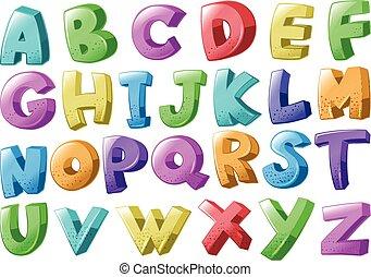 alfabetos, fonte, desenho, inglês