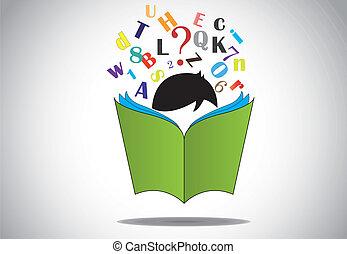 alfabetos, leitura, livro aberto, criança