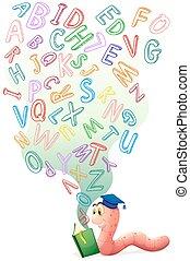 alfabetos, livro, bookworm, inglês