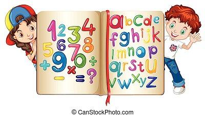alfabetos, livro, números, crianças