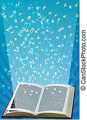 alfabetos, voando, livro aberto