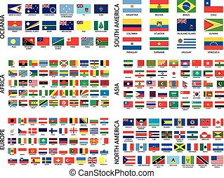 alfabetyczny, kraj, bandery, przez, kontynent