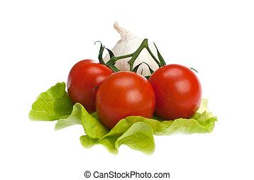 alface, alho, tomates