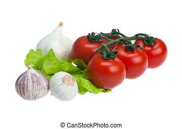 alface, tomates, alho