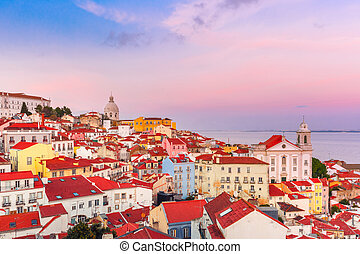 Alfama at scenic sunset, Lisbon, Portugal - View of Alfama,...