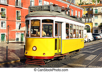 Alfama, Lisbon, Portugal - The tram 28 in the historical...