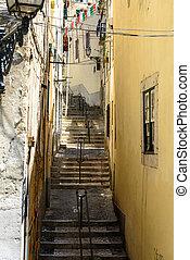 alfama, (portugal), lisboa, vuelo, pasos