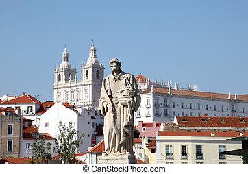 alfama, pueblo, viejo, portugal, -, lisboa