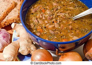 alfarería, azul, tripa, tradicional, sopa