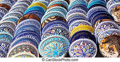 alfarería, colorido, árabe