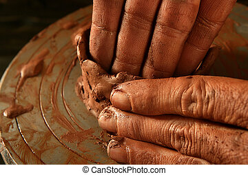 alfarería, craftmanship, trabajo, arcilla, manos