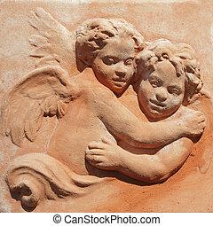 alfarería, pareja, -, dos, abrazar, toscano, ángeles