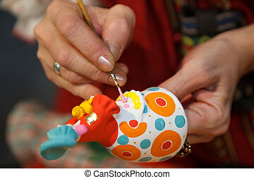 alfarería, primer plano, craft., photos., figurines., ruso, ...