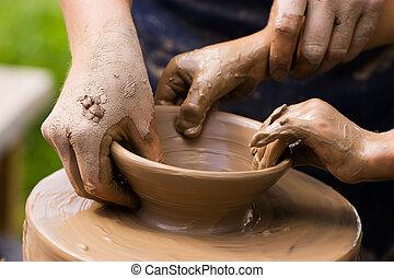 alfareros, y, niño, manos