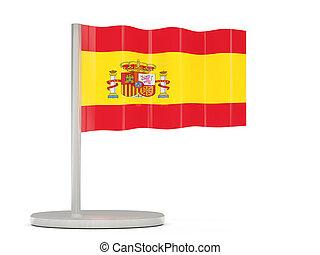 alfiler, con, bandera, de, españa
