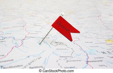 alfiler, descubrir, bandera