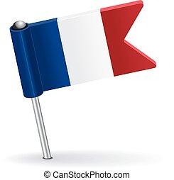 alfiler, flag., francés, vector, ilustración, icono