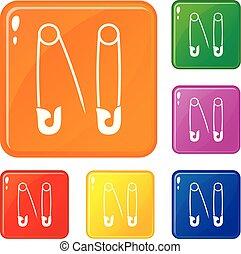 alfileres, color, conjunto, vector, iconos