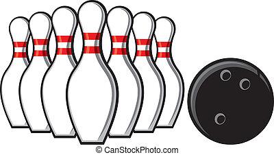 alfileres de bolos, y, bola de bowling