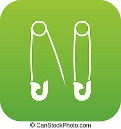 alfileres, icono, verde, digital