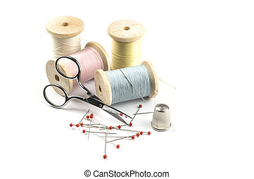 alfileres, tijeras, costura, hilos