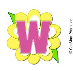 alfinete, alfabeto, flor amarela, w