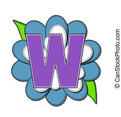 alfinete, azul, alfabeto, flor, w